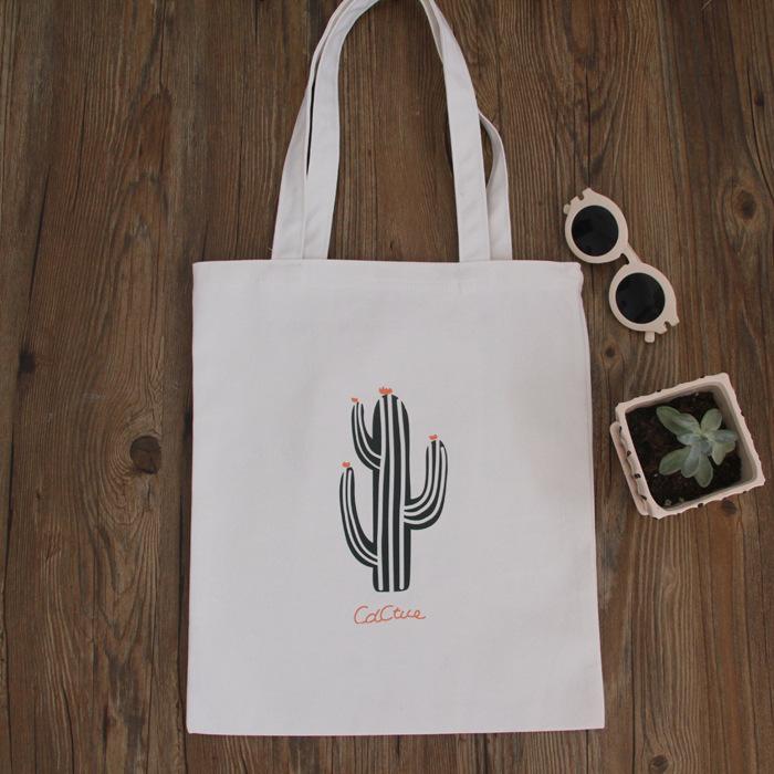 帆布包-現貨販售-簡約趣味仙人掌側背帆布包手提包-寶來小舖-SZ05