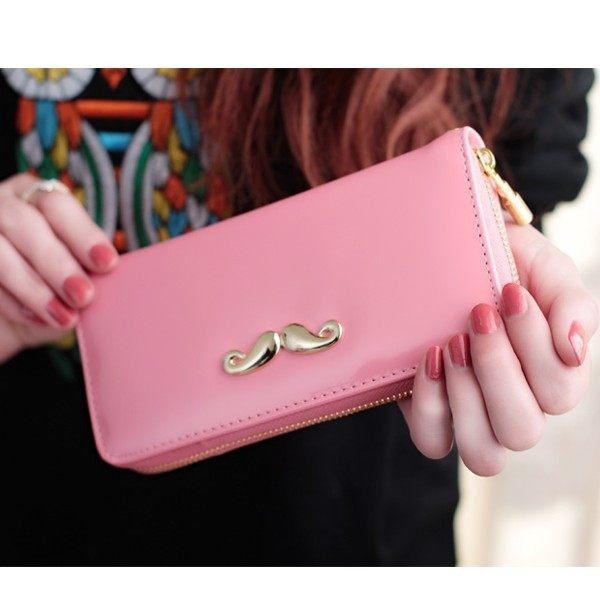 (現貨 附發票)韓系金色小鬍子亮皮&十字紋長夾 皮夾 手拿包 手機錢包  寶來小舖