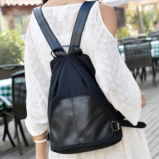 後背包 口袋造型尼龍防水背包 寶來小舖(現貨販售)