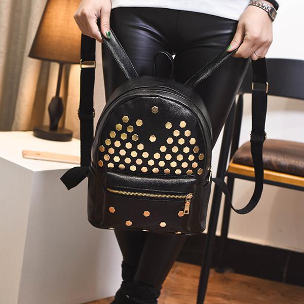 後背包-新款荔枝紋時尚鉚釘後背包-yx8006文化夜景- 寶來小舖 Bolai 現貨販售