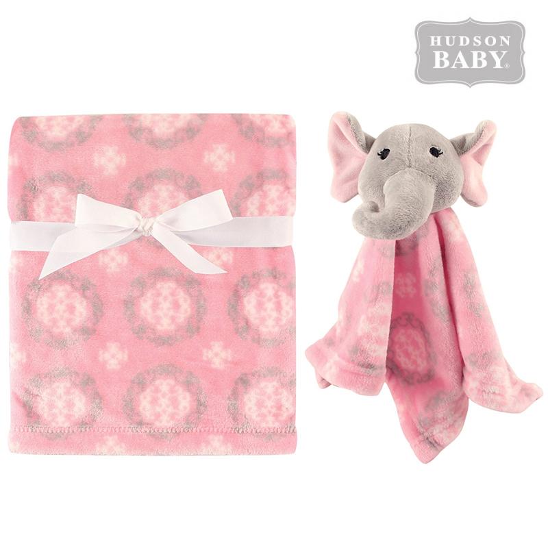 美國 Hudson Baby 嬰幼用品 安撫巾 安撫娃娃 安撫毯子(兩件組) - 粉紅小象