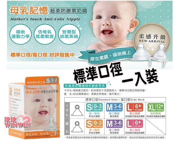 小獅王辛巴母乳記憶超柔防脹氣奶嘴「標準口徑 ~ 單入裝」升級奶嘴有7段尺寸可選,滿足寶寶成長需求