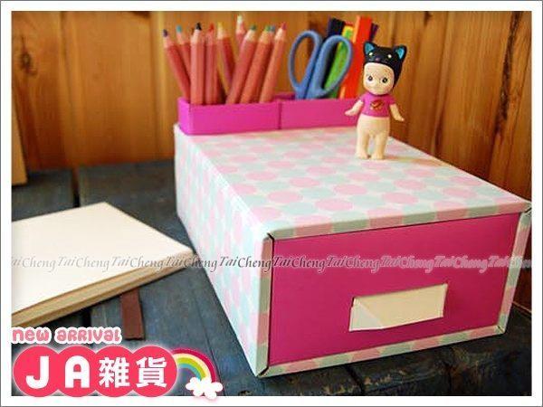 日本MAKINOU 桌面收納|韓國DIY粉彩雙格筆筒抽屜收納盒|日本牧野 文具 化妝整理 紙 JA雜貨
