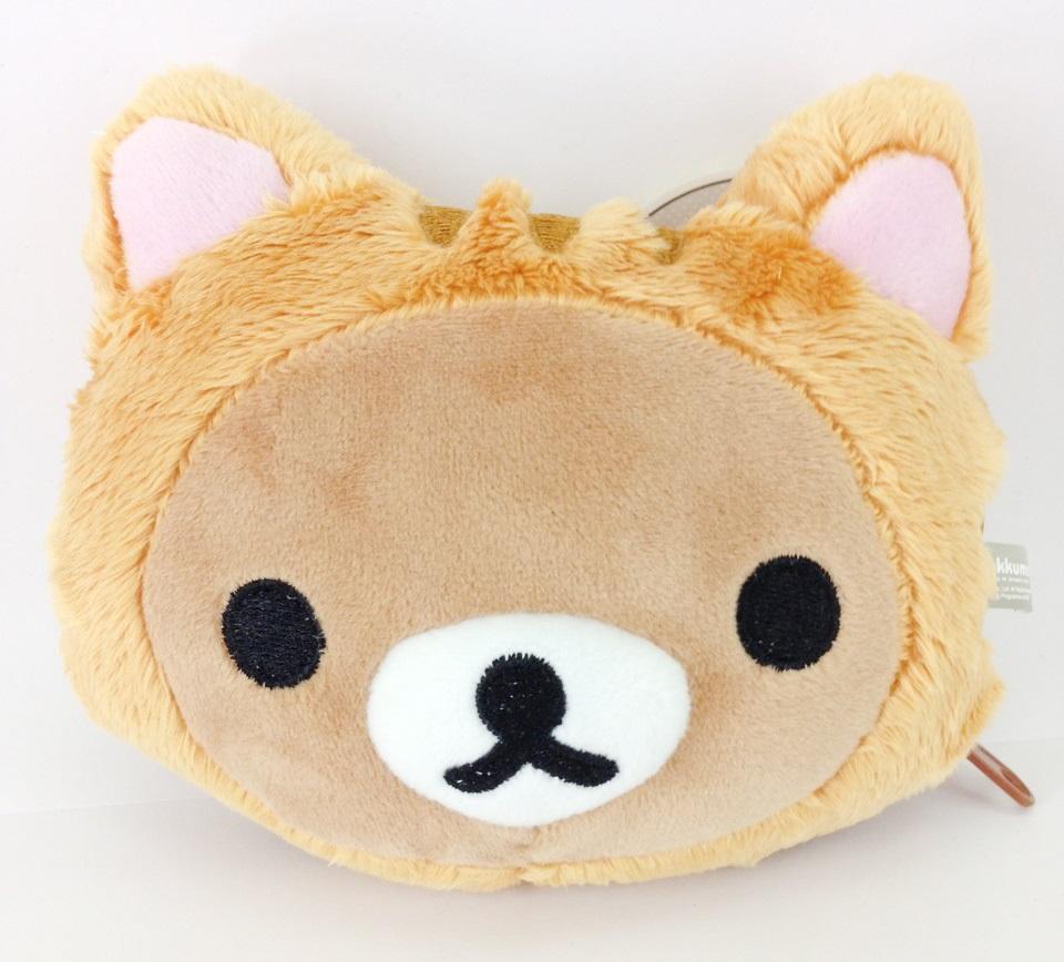 【真愛日本】16030800027頭型絨毛零錢包-變裝貓懶熊   拉拉熊 San-X 零錢包 收納 包包