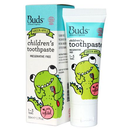 【悅兒園婦幼生活館】Buds 芽芽有機 木醣醇牙膏-青蘋果50ml (1-3歲)