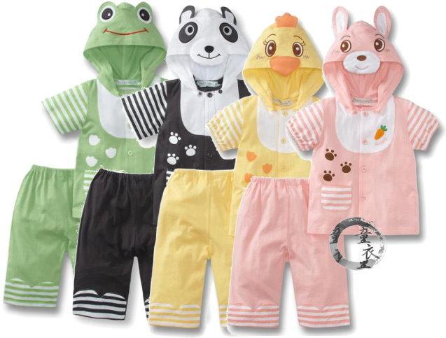 童衣圓【AC028】AC28動物套裝 動物 休閒服 前開 前扣 外搭+短褲 套裝2件組~80.90.100.110