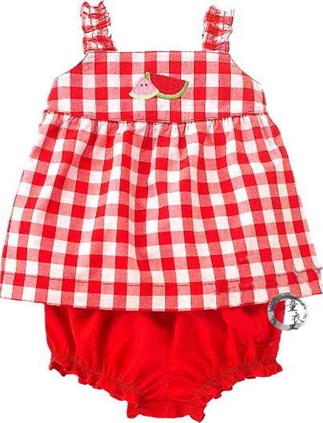 童衣圓【AG002 】AG2西瓜2件組 春夏 新款 無袖 背心 傘狀洋裝+燈籠褲~2T.3T