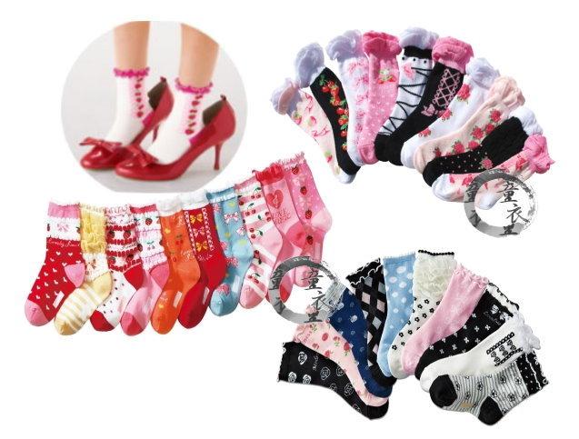 童衣圓【C031】C31女童短襪 可愛多色 女童 女孩 女生 短襪 學生襪~15-19/20-24~1包5雙200 隨機出貨