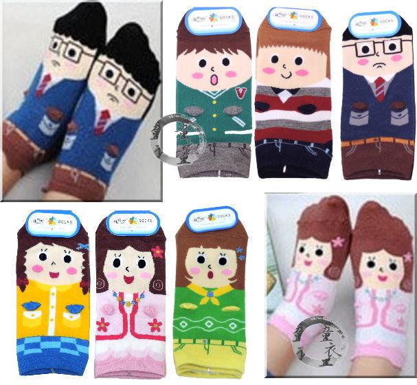 童衣圓【C050】C50紳士淑女襪 超可愛 人物 短襪 寶寶襪 尺碼16-18/1組3雙