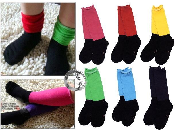 童衣圓【C065】C65黑底彩襪 亮麗 彩色 素面 耐髒 泡泡襪 短襪 長襪~14-18~1雙58元