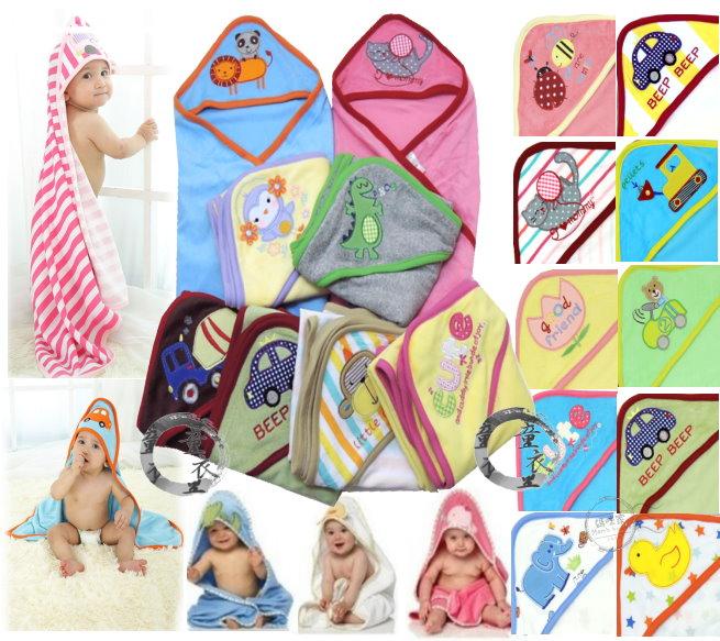 童衣圓【K046】K46超值包巾 毛巾料 綿布 繡花 三角帽 護頭 包巾 浴巾 抱被 嬰兒毯 小被 彌月禮 壓箱