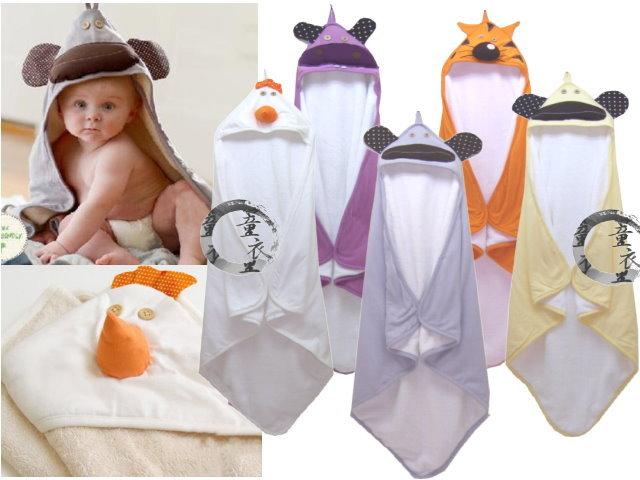 童衣圓 【K011】K11動物厚包巾 厚綿 珊瑚絨 三角帽 護頭 包巾 柔軟 保暖 小被 嬰兒毯 彌月禮 滿月禮 壓箱