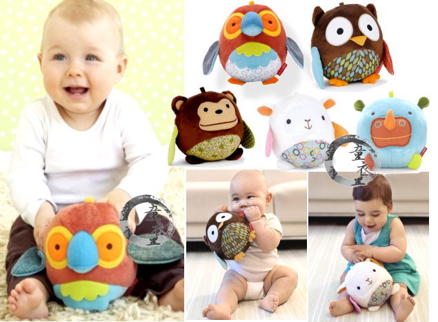 童衣圓【N015】N15動物球】 安撫球 抱抱球 可愛 動物 鈴噹 玩偶 可掛嬰兒床/推車~刺激聽/視覺