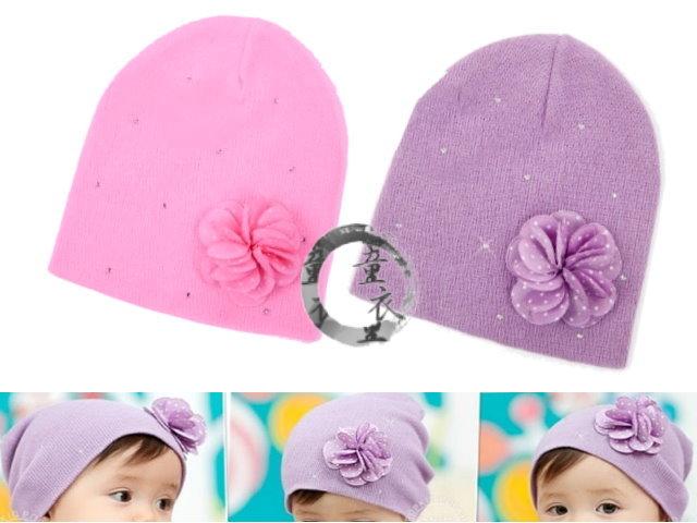 童衣圓【R039】R39花朵套頭帽 韓單 氣質美少女 立體小花 針織帽 彈性帽 適合頭圍36-52