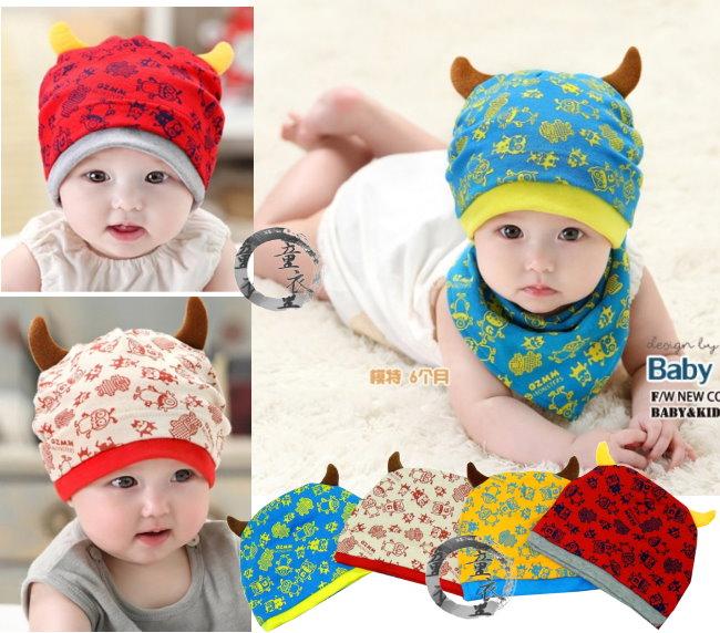 童衣圓【R085】R85小惡魔帽 可愛 率性 惡魔 印花 彈性綿 寶寶帽 套頭帽 造型帽 適合頭圍42-60