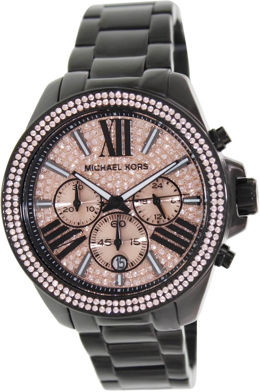 【MICHAEL KORS】正品 閃耀玫瑰金色羅馬滿天星三環黑色陶瓷手錶 MK5879