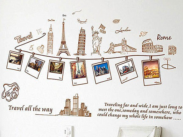 BO雜貨【YV2305】創意可重複貼壁貼 牆貼 背景貼 時尚組合壁貼樹 璧貼 磁磚貼 景色相片貼