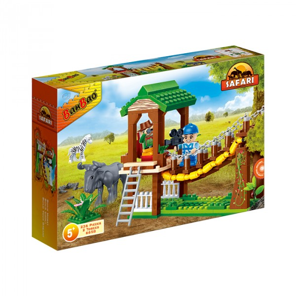 【BanBao 積木】野生動物園系列-營地吊橋 6658  (樂高通用) (單筆訂單購買再加送積木拆解器一個)