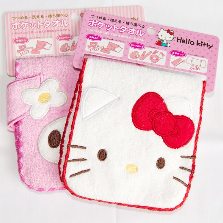 Hello Kitty 100%棉質 多功能小毛巾包 化妝包 雜物包 日本帶回