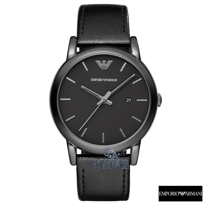 【錶飾精品】ARMANI手錶 亞曼尼表 低調時尚 日期 黑面黑色皮帶男錶AR1732禮物