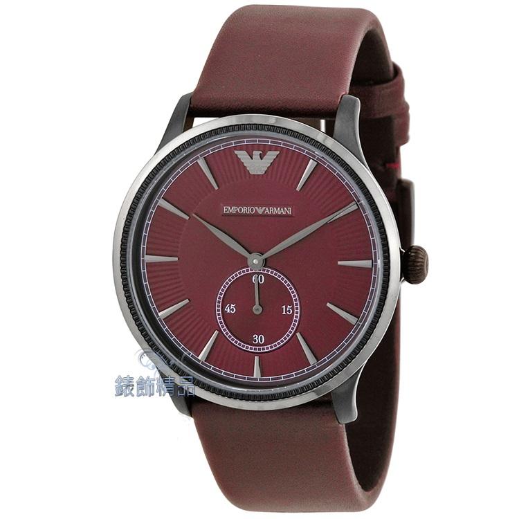 【錶飾精品】ARMANI手錶 亞曼尼表 爵士時尚小秒針皮帶男表-酒紅 AR1801 生日 情人禮物 全新原廠正品