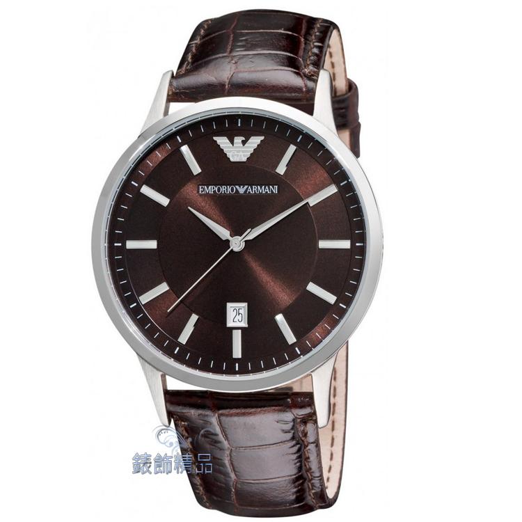 【錶飾精品】ARMANI手錶 亞曼尼表 優雅紳士 日期 咖啡面 咖啡壓紋皮帶男錶 AR2413 全新正品 情人 生日禮物