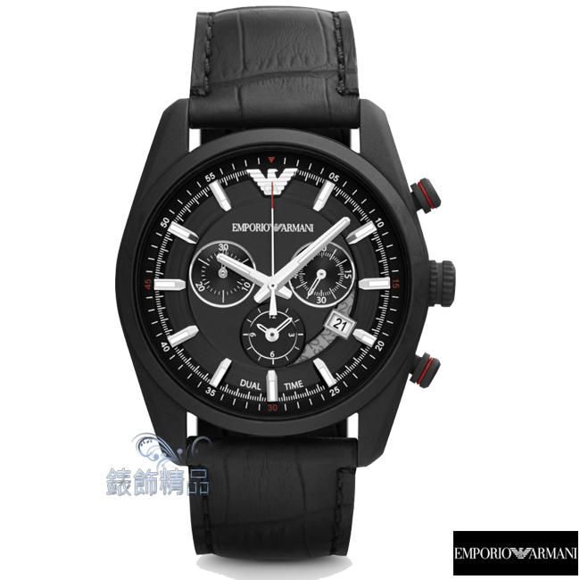 【錶飾精品】ARMANI手錶 亞曼尼表 計時 日期 黑面黑皮帶男錶 AR6035全新原廠正品 禮物