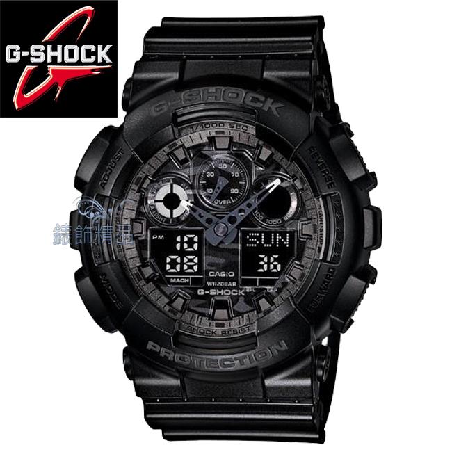 【錶飾精品】現貨卡西歐CASIO G-SHOCK多層次錶盤 低調迷彩黑GA-100CF-1ADR雙顯GA-100CF-1A