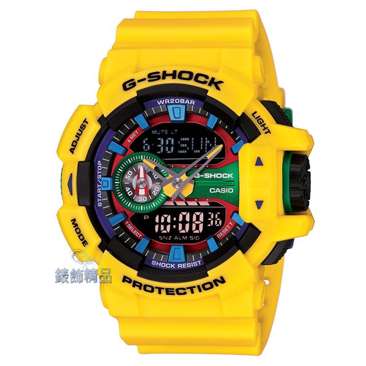 【錶飾精品】現貨CASIO卡西歐G-SHOCK大型錶冠設計 GA-400-9A 搶眼黃 GA-400-9ADR生日 情人節禮物