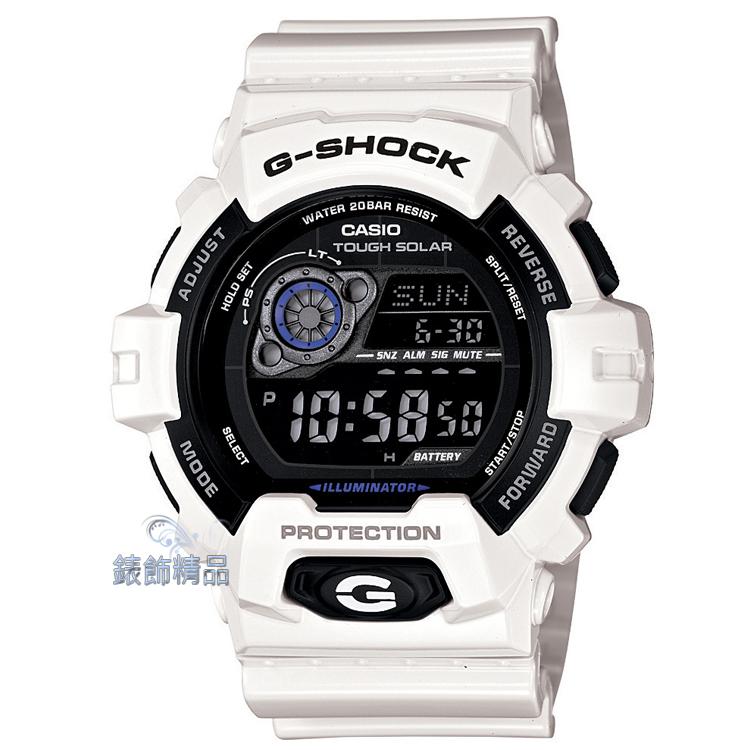 【錶飾精品】現貨CASIO卡西歐G-SHOCK多層次液晶數位錶面 GR-8900A-7 白X黑 GR-8900A-7DR 太陽能 全新原廠正品 生日 情人節 禮物 禮品