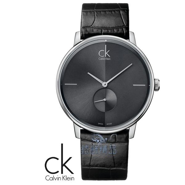 【錶飾精品】CK錶/CK手錶/Calvin Klein 黑面 小秒 黑皮帶男錶K2Y211C3全新原廠正品 生日情人禮物