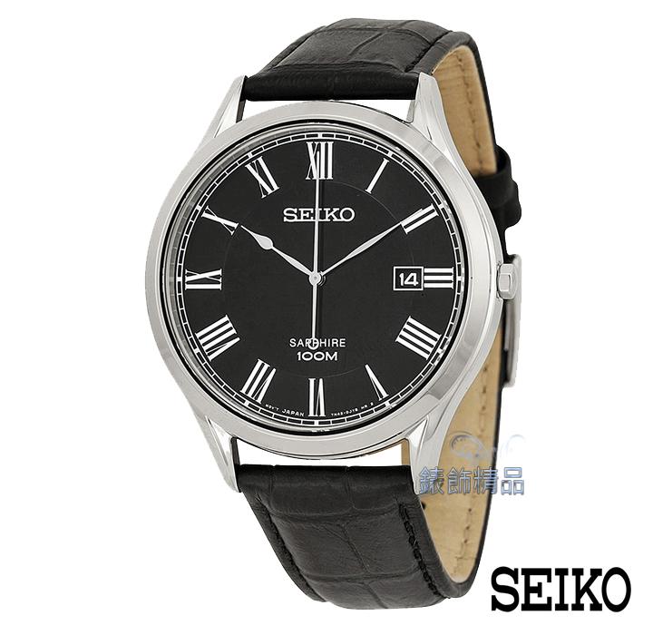 【錶飾精品】SEIKO手錶 精工表 品味卓越 羅馬時標 藍寶水晶鏡面黑面日期 防水黑皮帶男錶SGEG99.SGEG99P1全新正品 禮物