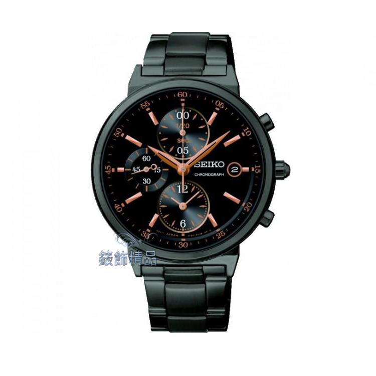 【錶飾精品】SEIKO錶 時尚混搭 黑面玫金時標 日期 三眼計時 SNDW47全新7T92-0RS0SD原廠正品 SNDW47P1