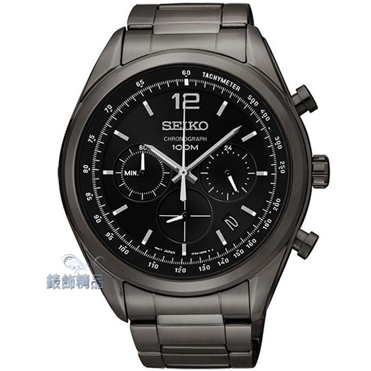 【錶飾精品】SEIKO手錶 精工表 防水100M 三眼計時日期 黑面鍍黑鋼帶男錶SSB093P1原廠正品SSB093禮物
