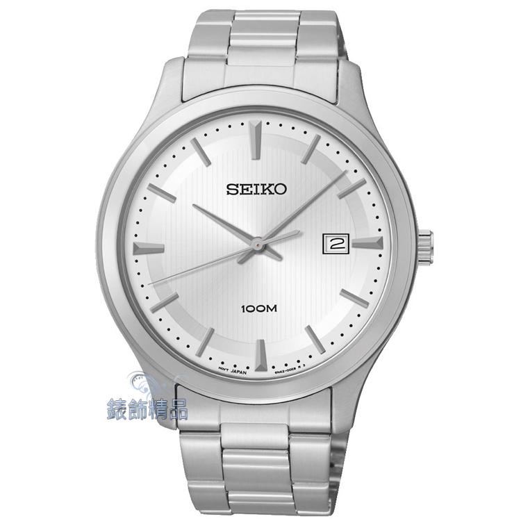 【錶飾精品】SEIKO手錶 精工表 經典時尚 白面日期 防水男錶 SUR047全新原廠正品SUR047P1 生日情人禮物