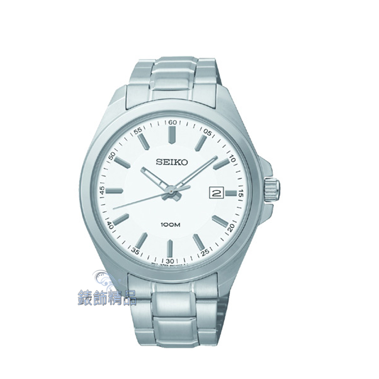 【錶飾精品】SEIKO手錶 精工表 經典時尚 白面日期 防水男錶 SUR057全新原廠正品SUR057P1 生日情人禮物