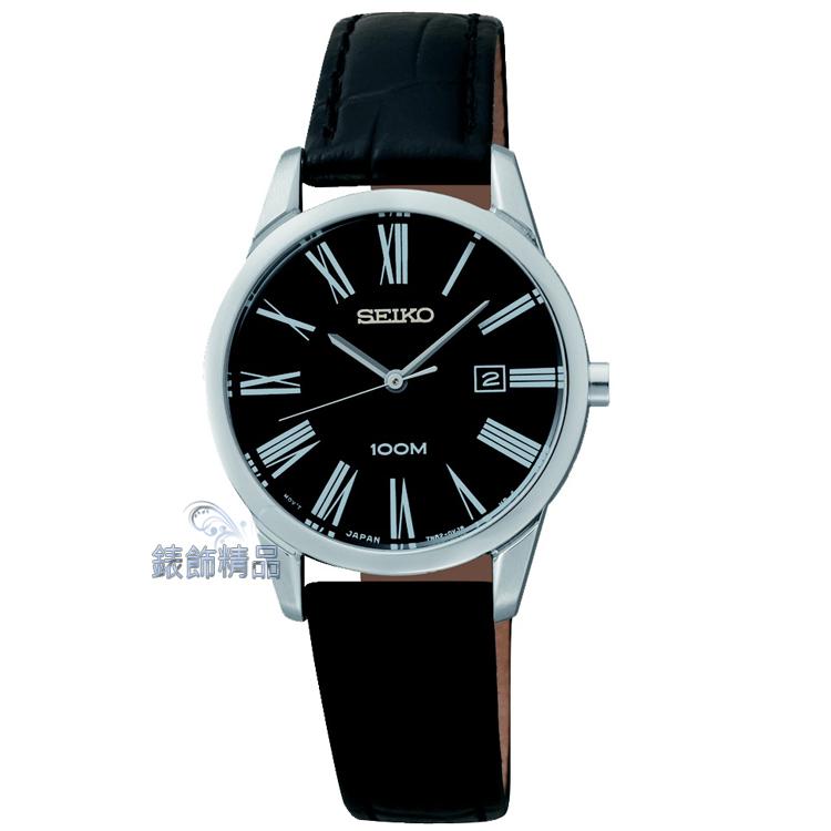 【錶飾精品】SEIKO錶 精工錶 時尚淑女錶 黑面日期 防水 羅馬時標 黑皮帶 SXDG31全新原廠正品SXDG31P1