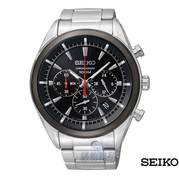 【錶飾精品】SEIKO錶 精工表 計時碼錶 日期 防水 黑面黑框 鋼帶男表SSB089P1.SSB089全新正品