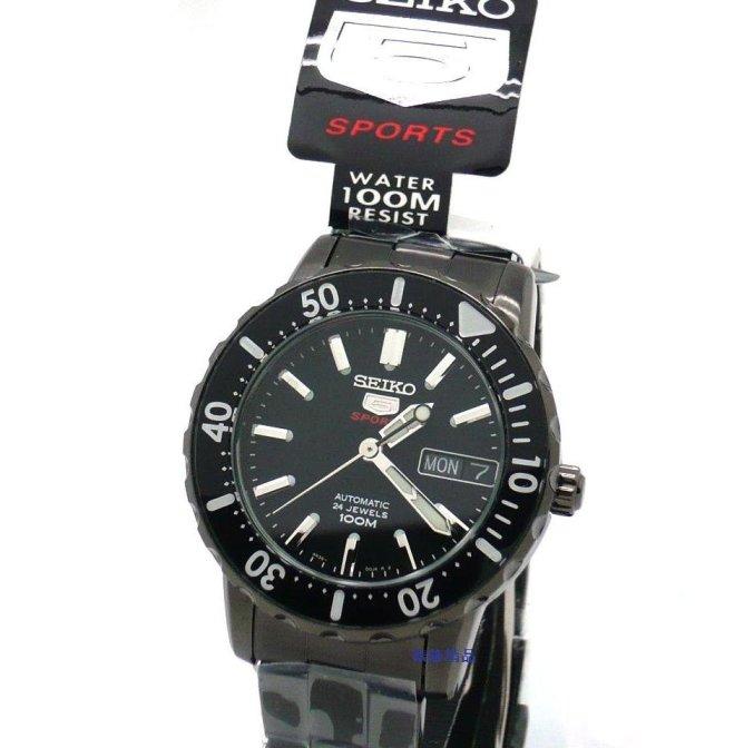 【錶飾精品】SEIKO錶/盾牌5號運動款自動機械錶.黑面鍍黑鋼帶男錶SRP193.SRP193K1