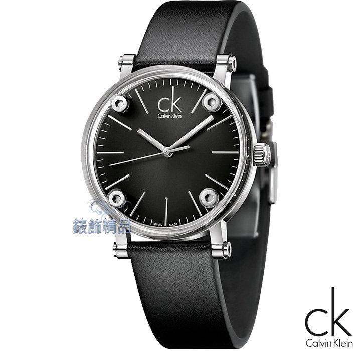 CK WATCH/CK錶/CK手錶/CK Calvin Klein透視鏡面黑面黑皮帶(小)K3B231C1全新正品