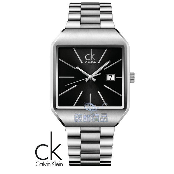 【錶飾精品】CK錶/CK手錶/CK Calvin Klein雅痞方形黑面鋼帶日期男錶K3L31161全新原廠正品