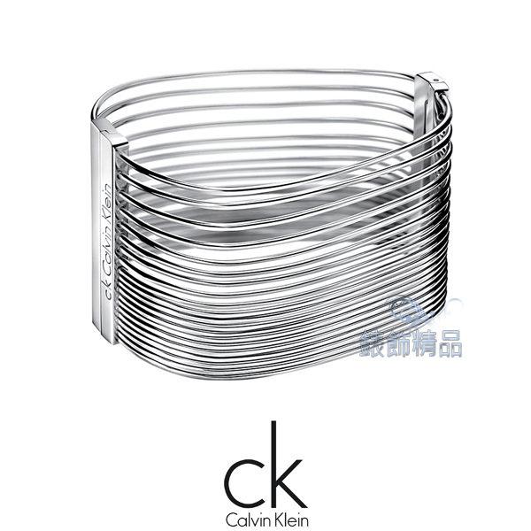 【錶飾精品】Calvin Klein CK JEWELRY/CK飾品/ck夾扣式手環-多環系列/316L白鋼KJ77AB0101全新原廠正品