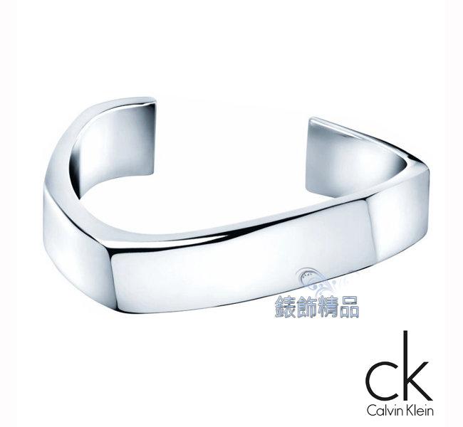 【錶飾精品】Calvin Klein CK JEWELRY/CK飾品/ck開口式手環-曲線系列粗手環/316L白鋼 KJ53AB0101 全新原廠正品