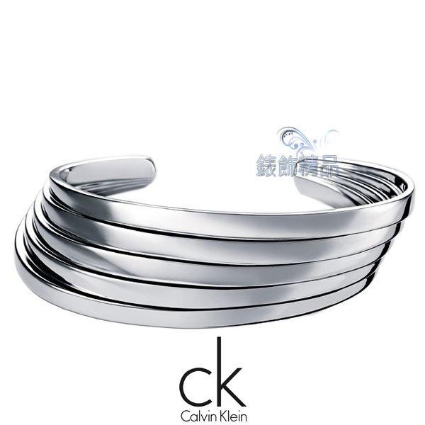 【錶飾精品】Calvin Klein CK JEWELRY/CK飾品/ck開口式手環-悄悄系列(銀)316L白鋼 KJ76AB0101 全新原廠正品