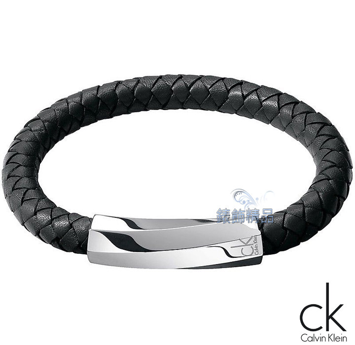 【錶飾精品】Calvin Klein CK飾品 CK手環 316L白鋼 迷惘系列2013新款-黑色皮繩編織手環KJ2BBB0901