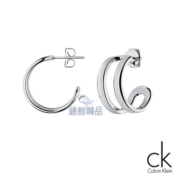 【錶飾精品】Calvin Klein CK飾品 ck耳環 return呼應系列-銀 316L白鋼 KJ0ZME000100 全新原廠正品 生日 情人節 禮物 禮品