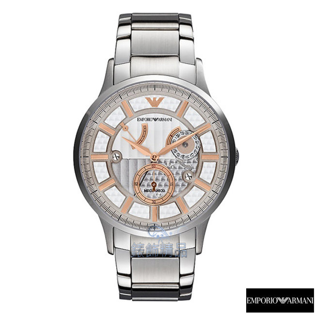 【錶飾精品】ARMANI手錶 亞曼尼表 銀面玫金時標鋼帶 動力儲存顯示機械錶AR4663大 男錶禮物