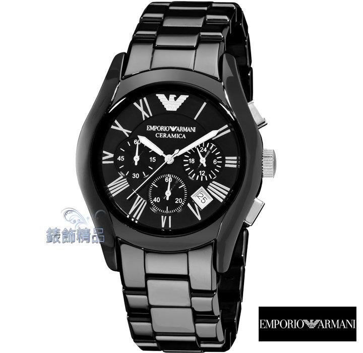 【錶飾精品】 ARMANI手錶/ARMANI錶/亞曼尼計時碼錶日期黑面陶瓷男錶AR1400全新原廠正品 禮物