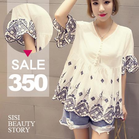 SISI【D6166】韓版清新百搭寬鬆顯瘦V領短袖刺繡傘狀下襬棉麻上衣連身裙洋裝