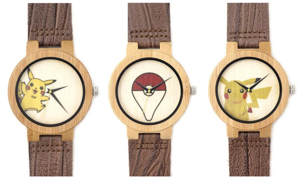 寶可夢竹制木表 pokemon Go 皮卡丘精靈球系列個性創意休閒真皮手錶